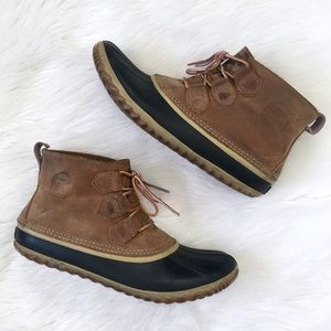 Sorel Tan Leather Ankle Duck Boots